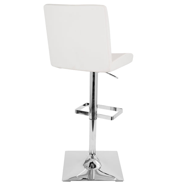 Captain Contemporary Adjustable Barstool with Swivel in White Faux Leather