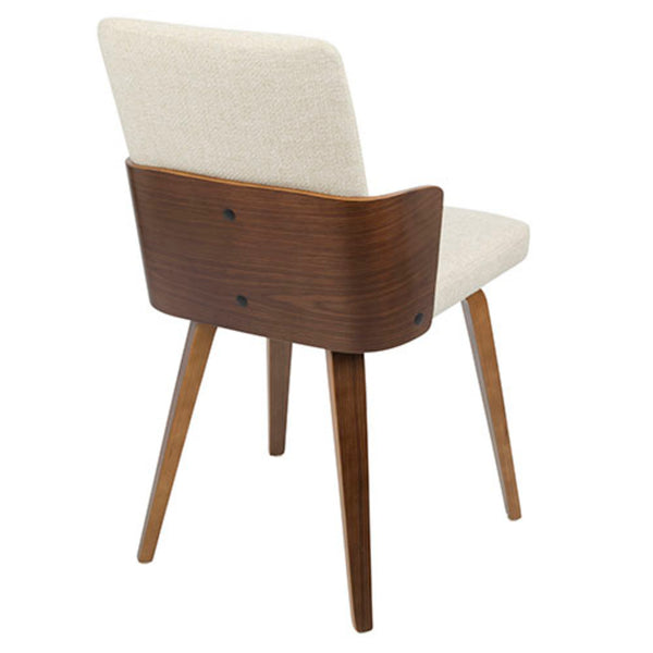 Carmella Mid-Century Modern Dining/Accent Chair in Walnut and Cream/ Teal Fabric  - Set of 2