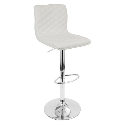 Caviar Contemporary Adjustable Barstool with Swivel in White Faux Leather