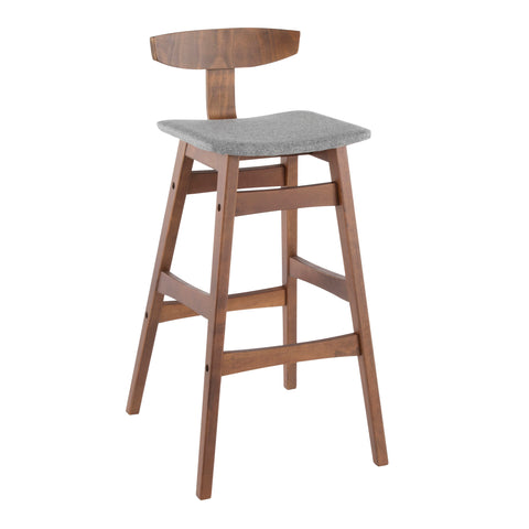 Barstool in Walnut Wood with Grey Fabric