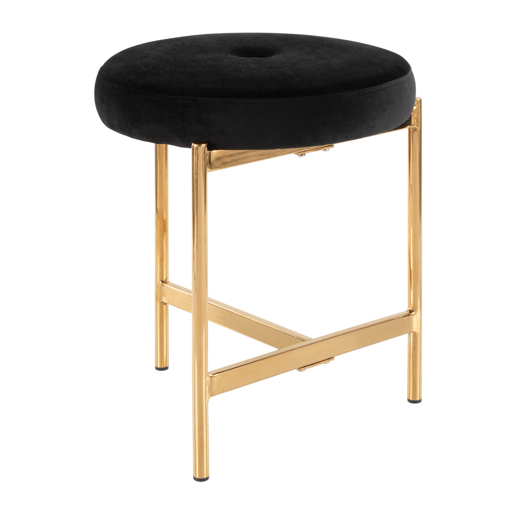 Strange Chloe Contemporary Vanity Stool In Gold Metal And Black Blue Green Blush Pink White Velvet Caraccident5 Cool Chair Designs And Ideas Caraccident5Info