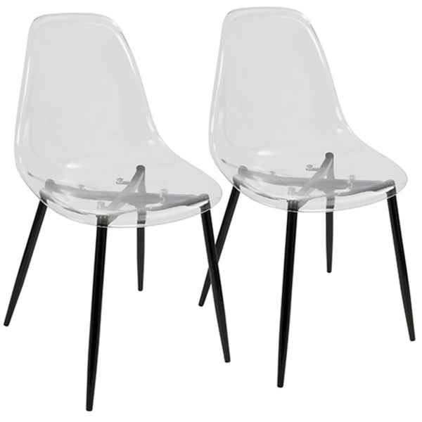 Clara Mid-Century Modern Dining Chair in Black or Walnut and Clear  - Set of 2