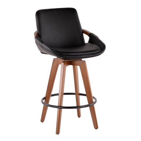 Cosmo Mid-Century Counter Stool in Walnut and Black Faux Leather