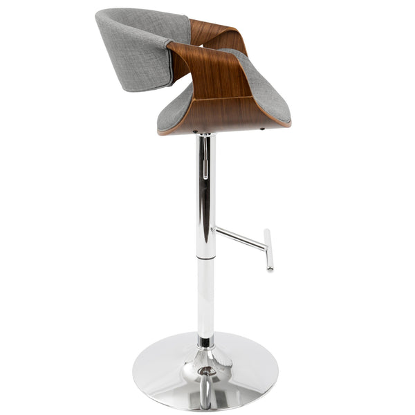 Curvo Mid-Century Modern Adjustable Barstool with Swivel in Walnut and Light Grey or Teal or Cream