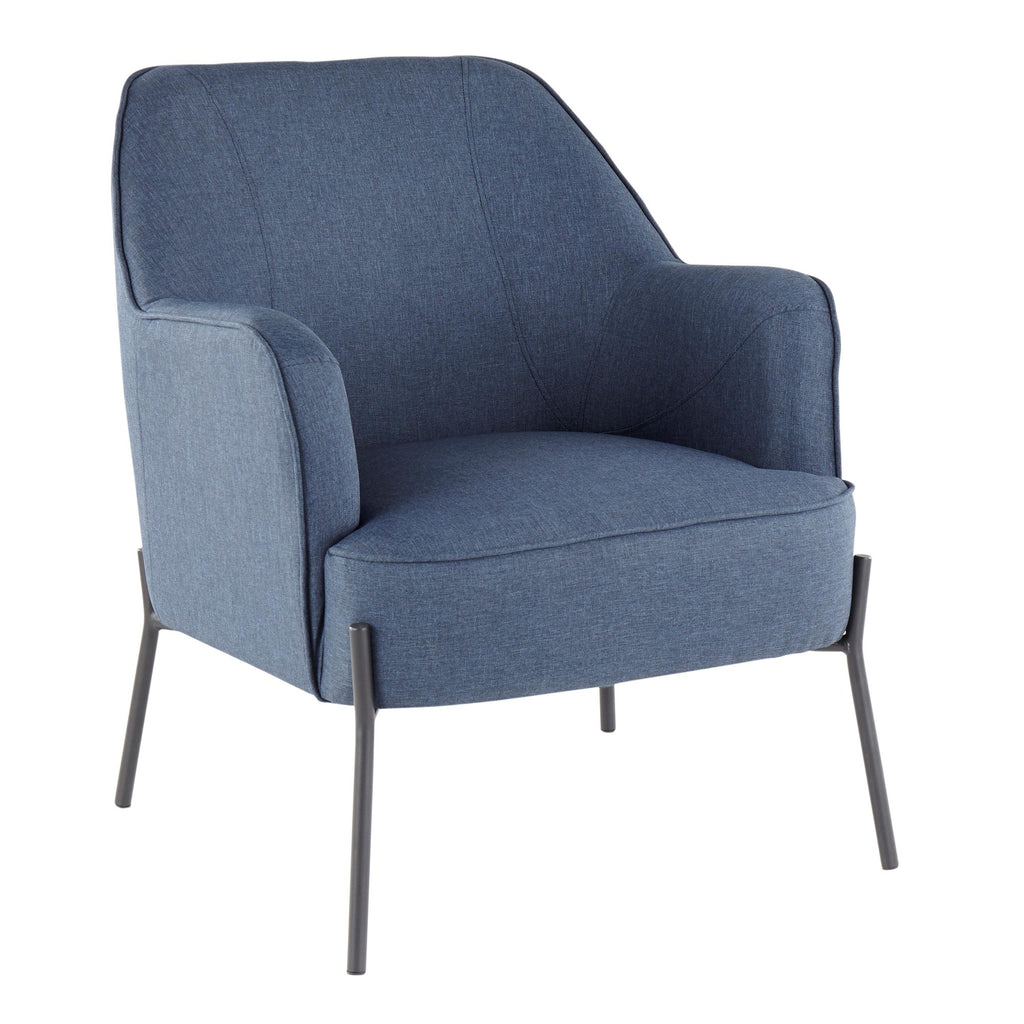 Daniella Contemporary Accent Chair In Black Metal And Blue / Grey Fabr U2013  MCM Classics