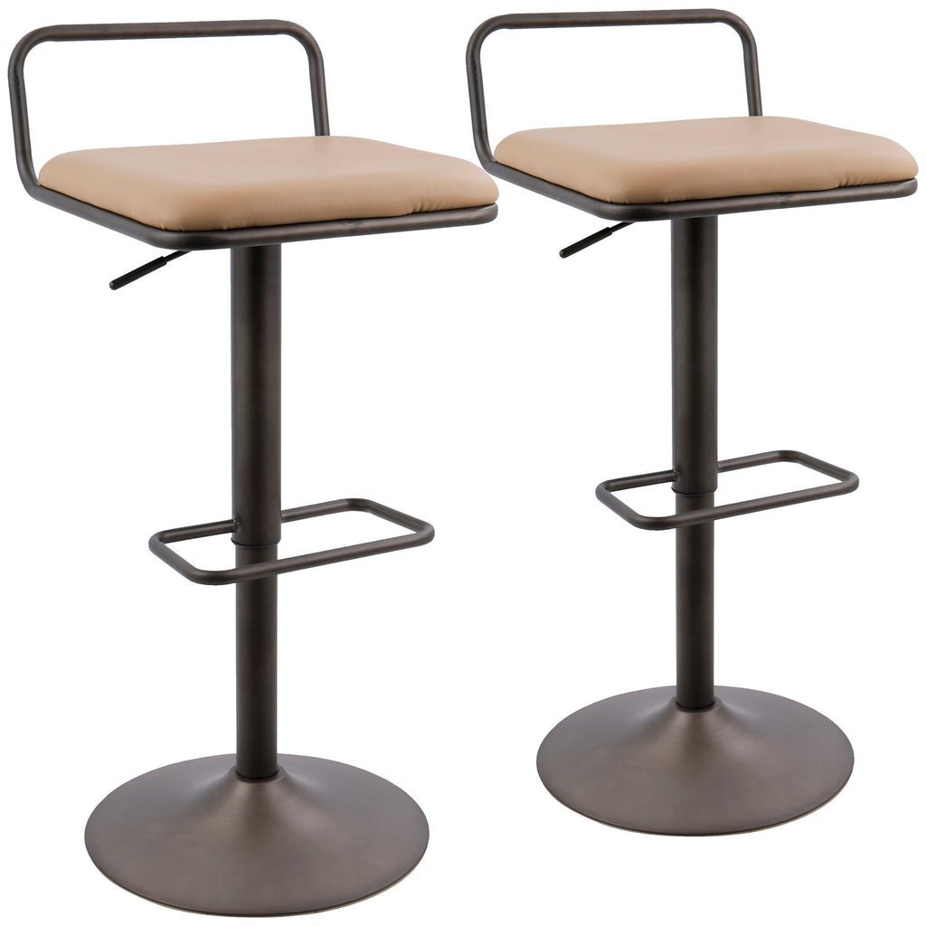 Beta Industrial Barstool in Antique and Camel Faux Leather  - Set of 2