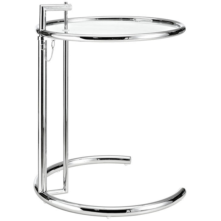 Eileen Gray Adjustable Side Table Tempered Glass With Chromed - Eileen gray end table