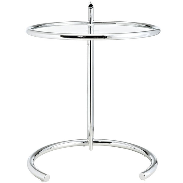 Eileen Gray Adjustable Side Table Tempered Glass with Chromed Tubular Steel Frame