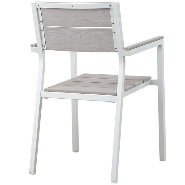MAINE EOS STYLE DINING OUTDOOR PATIO ARMCHAIR IN BROWN GRAY or WHITE LIGHT GRAY