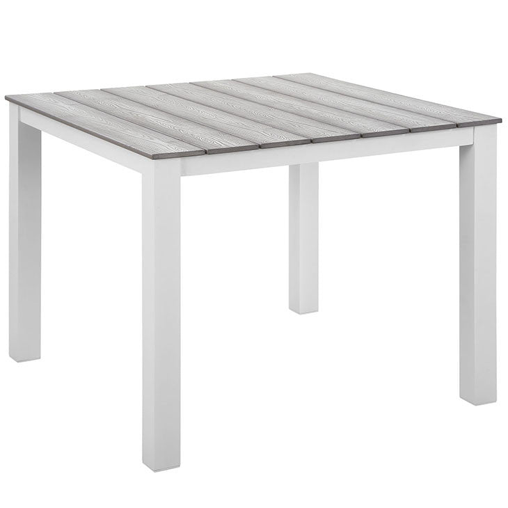"MAINE EOS STYLE 40"" OUTDOOR PATIO DINING TABLE IN BROWN GRAY or WHITE LIGHT GRAY"