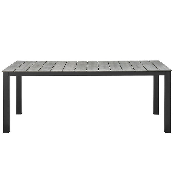 "MAINE EOS STYLE 80"" OUTDOOR PATIO DINING TABLE IN BROWN GRAY or WHITE LIGHT GRAY"