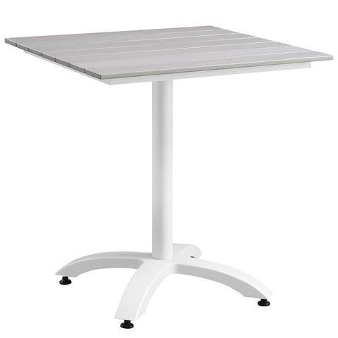 "MAINE EOS STYLE 28"" OUTDOOR PATIO DINING TABLE IN WHITE LIGHT GRAY or BROWN GRAY"