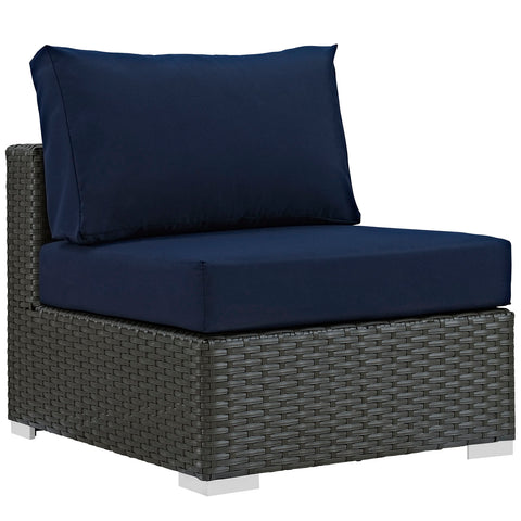 SOJOURN OUTDOOR PATIO FABRIC SUNBRELLA® ARMLESS CHAIR IN CANVAS in MANY COLORS