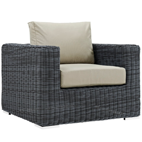 SUMMON OUTDOOR PATIO FABRIC SUNBRELLA® ARMCHAIR IN CANVAS in MANY COLORS