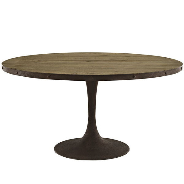 Round Saarinen Style Tulip Table Distressed Wood Top Brown Finish MANY SIZES