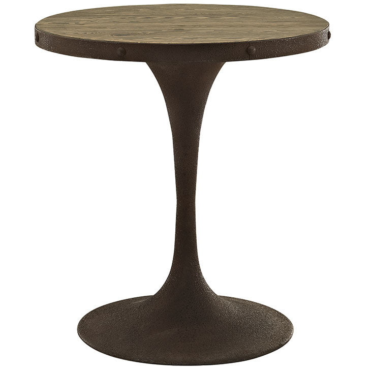 Round Saarinen Style Tulip Table Distressed Wood Top Brown Finish - Tulip table wood top