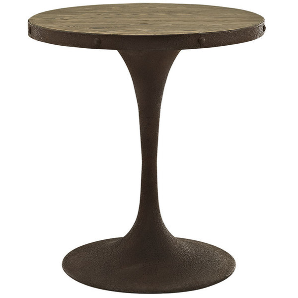 Round Saarinen Style Tulip Table Distressed Wood Top Brown