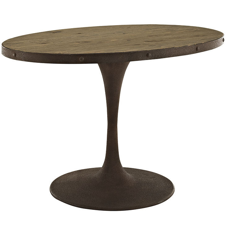 Oval Saarinen Style Tulip Table Distressed Wood Top and Brown Metal Base MANY SIZES