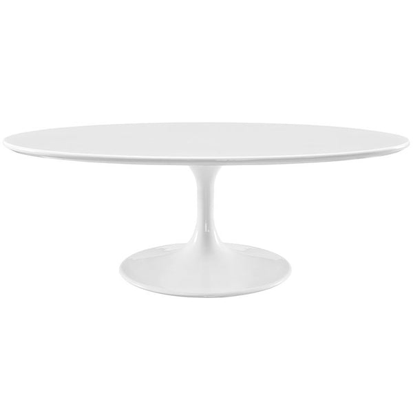 "SAARINEN STYLE 48"" OVAL-SHAPED WOOD TOP COFFEE TABLE IN WHITE"