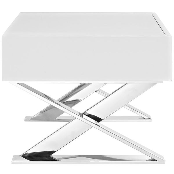 Sector Night Stand in Dark Brown Wood Veneers or High Glossy White Laminate