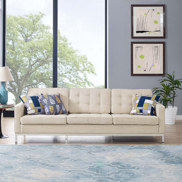 Loft Upholstered Fabric Sofa in Azure, Beige, Gray, Granite, Light Gray, Teal