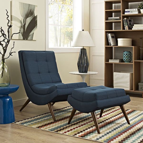 RAMP FABRIC LOUNGE CHAIR AND OTTOMAN in MANY COLORS