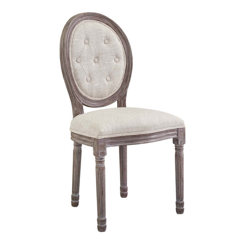 Arise Vintage French Upholstered Fabric Dining Side Chair In Beige or Light Grey