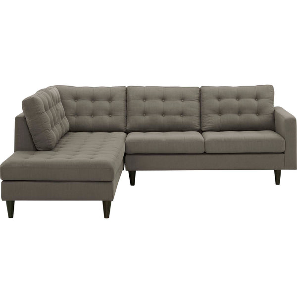 Empress 2 Piece Upholstered Fabric Left Facing Bumper Sectional in Azure, Gray, Granite, Light Gray