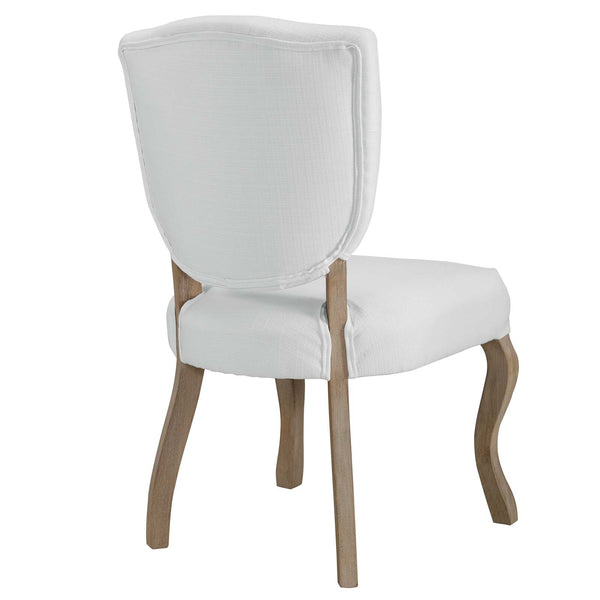Array Vintage French Upholstered Dining Side Chair In Beige, Gray, Light Gray or White