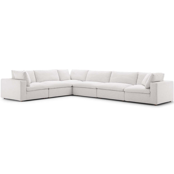 Commix Down Filled Overstuffed 6 Piece Sectional Sofa Set in Azure, Beige, Gray, Teal, White