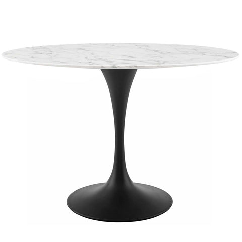 "Lippa Oval Artificial Marble Dining Table in 48"", 54"", 60"", 78""L"
