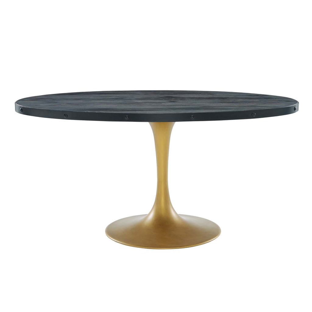 "Drive Oval Wood Top Dining Table In Black Gold 47"" OVAL / 60"" OVAL / 78"" OVAL"
