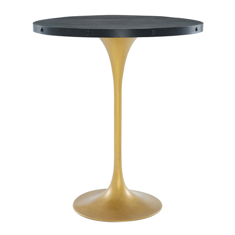 "Drive 36"" Round Wood Bar Table In Black Gold"