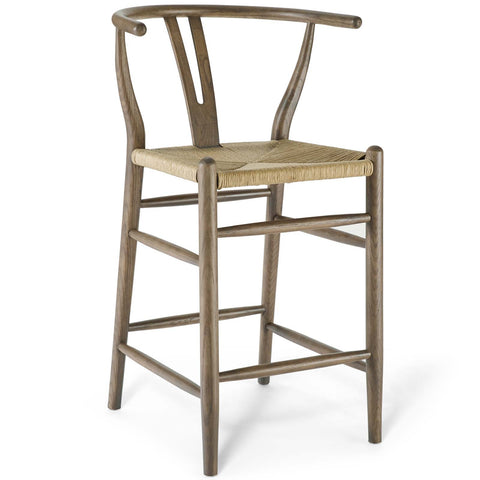 "Amish Wood 16.5""H  Counter Stool in Gray, White"