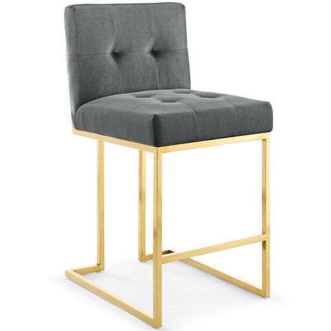 "Privy 26.5""H Gold Stainless Steel Performance Velvet Counter Stool in Charcoal, Dusty Rose, Emerald,  Emerald, Ivory,  Navy"