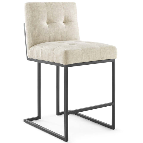 "Privy 26.5""H Stainless Steel Upholstered Fabric Counter Stool in Beige, Light Gray, White Color"