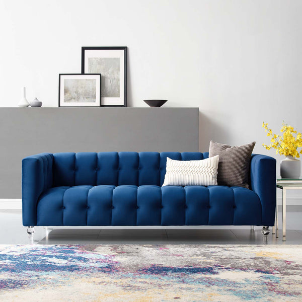 Mesmer Channel Tufted Button Performance Velvet Sofa in Charcoal, Cognac, Navy,