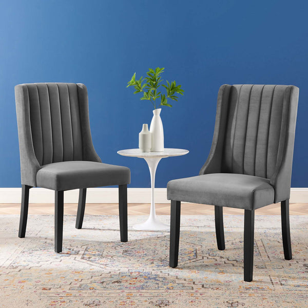 Renew Parsons Performance Velvet Dining Side Chairs - Set of 2 in Gray, Light Gray, Navy