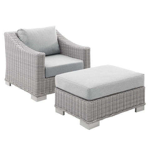 Conway Sunbrella® Outdoor Patio Wicker Rattan 2-Piece Armchair and Ottoman Set in Light Gray+Gray, Light Gray+Navy, Light Gray+White