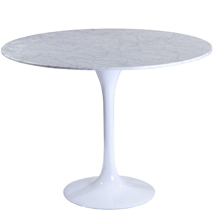 White Carrara Marble Tulip Dining Table Aluminum Base Saarinen Style - Tulip table sizes