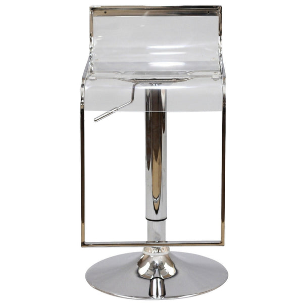 LEM STYLE ADJUSTABLE CLEAR ACRYLIC BAR STOOL