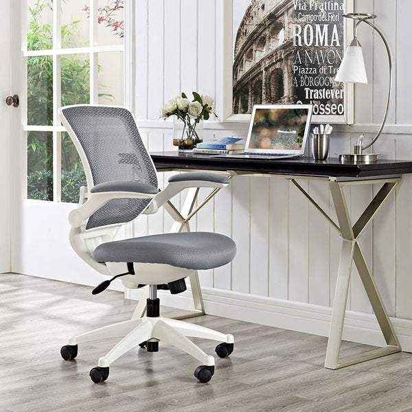 EDGE MESH OFFICE CHAIR with WHITE FRAME in MANY COLORS
