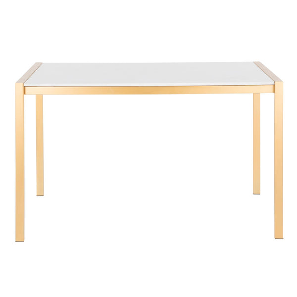 Fuji Contemporary Dining Table in Stainless Steel with Clear Glass Top