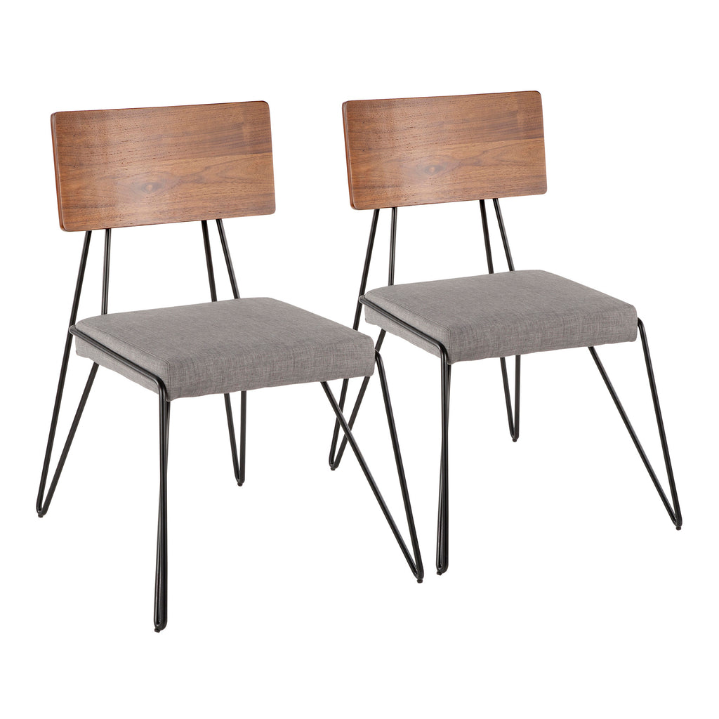Miraculous Loft Mid Century Modern Chair In Black Metal With Grey Fabric And Walnut Wood Accent Set Of 2 Bralicious Painted Fabric Chair Ideas Braliciousco