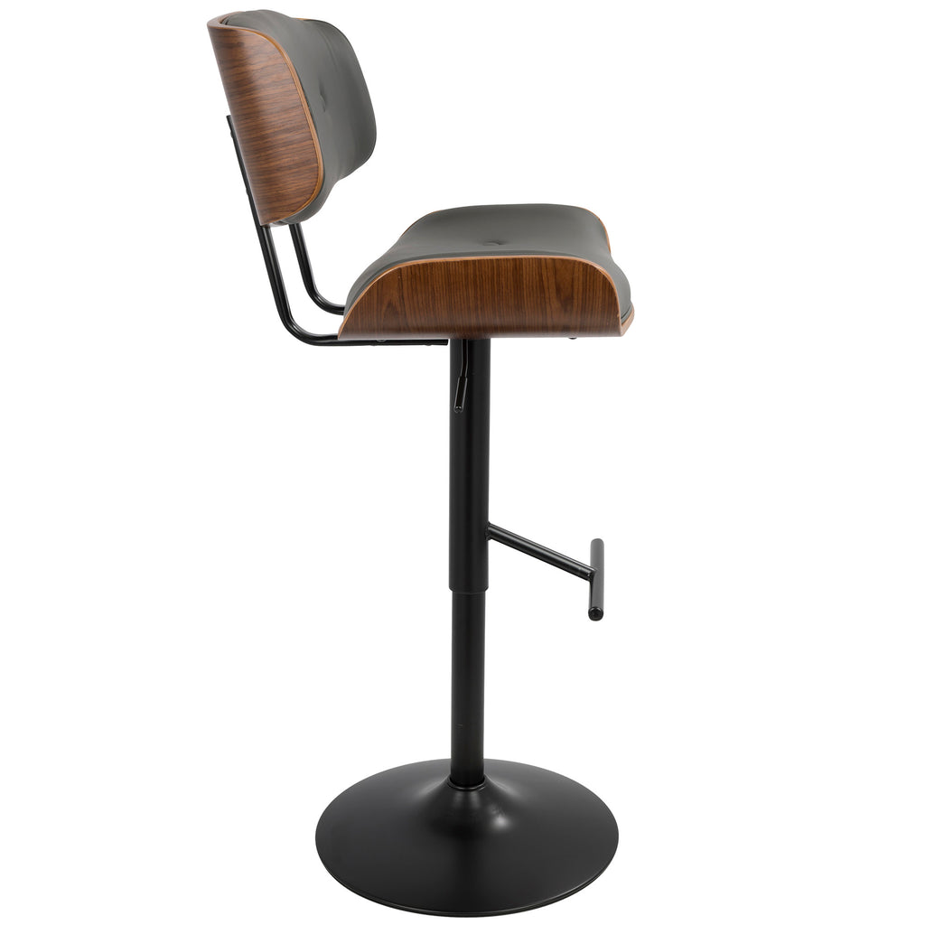 Fine Lombardi Mid Century Modern Adjustable Barstool In Walnut With Black Cream Grey Faux Leather Forskolin Free Trial Chair Design Images Forskolin Free Trialorg