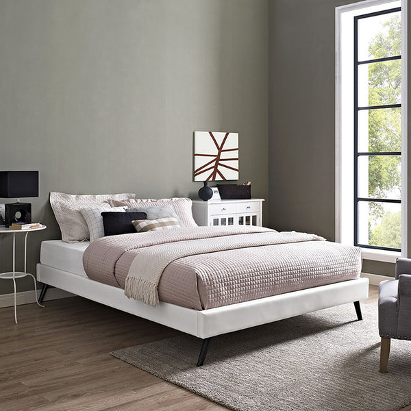 Helen Faux Leather Platform Bed Frame in Twin/Full/Queen/King in MANY COLORS