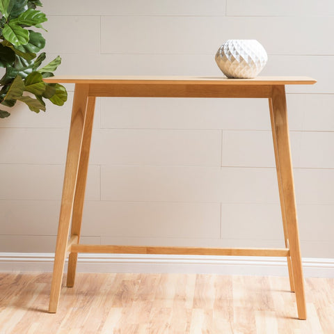 Edinger Natural Oak Finish Wood Bar Table