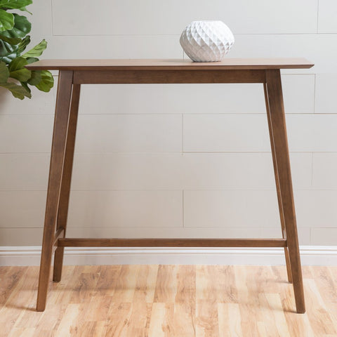 Edinger Natural Walnut Finish Wood Bar Table