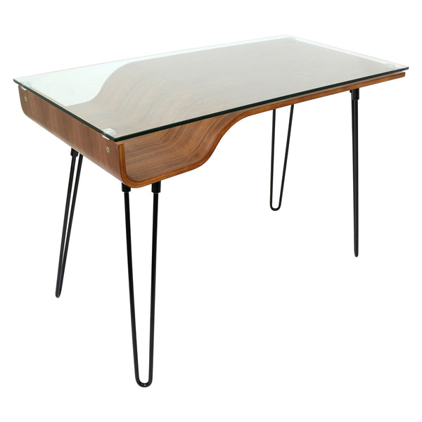 Avery Desk in Clear Tempered Glass and Walnut Veneers