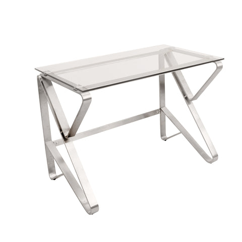 Foundry Tempered Glass / Polished Stainless Steel Desk